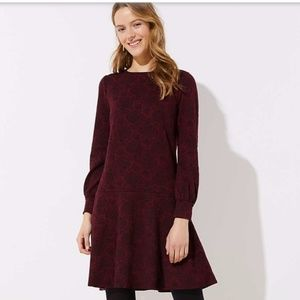 LOFT Leafed Jacquard Flippy Dress
